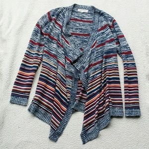 Striped Open Front Shrug Cardigan Size M
